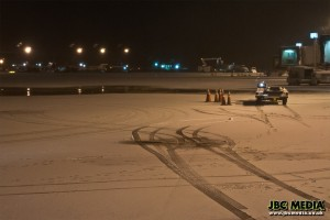 Snow on the ground at Manchester Airport